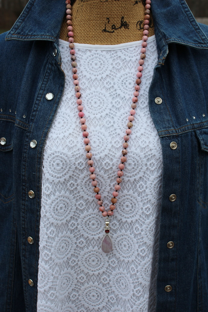 Calming Long Beaded Necklace with Pink Moonstone Pendant by KnottedUp The