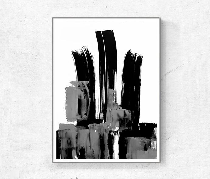 Black and White Abstract Art, Modern Art Prints, Set of 3 Large Minimalist