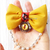 Divine Feline Mustard Yellow Bow Tie with Tiered Pearl Chain, Photo Props, Pet