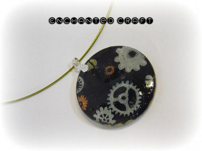 Steampunk gears wood pendant- with silver bail and gold neckwire