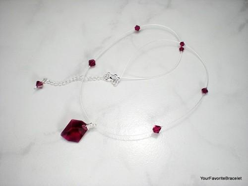 Illusion Necklace Ruby Red Crystal Pendant