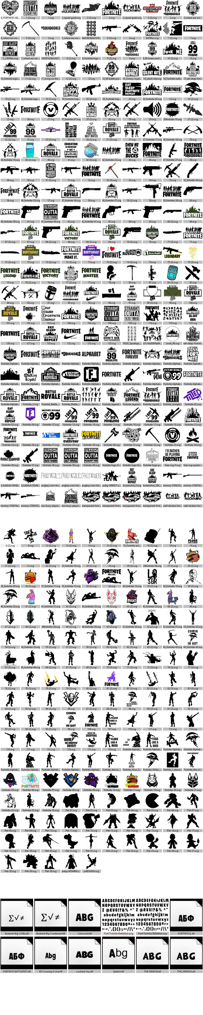 Fortnite Files SVG and PNG Files: Quotes, Fonts, Logos, Heroes