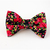Rose Garden Bow Tie, Black Floral Print, Bow Ties for Cats, Pet Attire, Wedding,