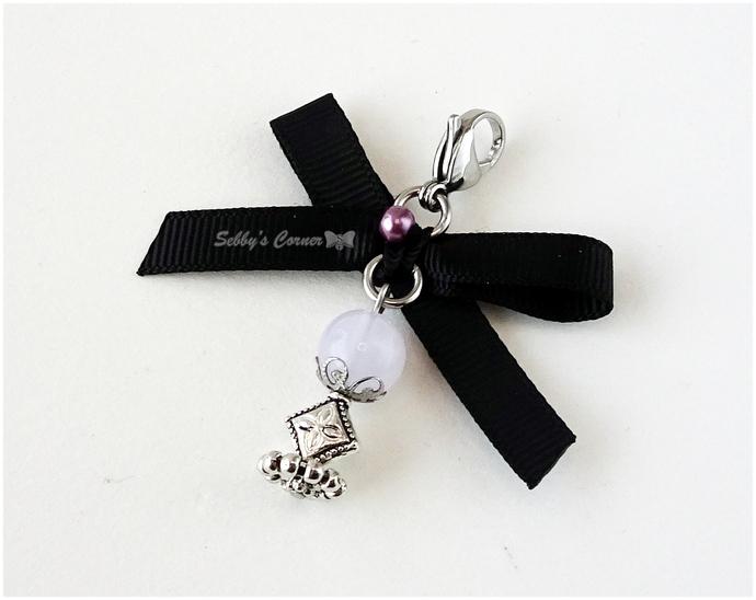 Magic Crystal Charm with Ribbon, Pastel Goth, Zipper Pull, Goth, Halloween