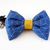 Hexagon Print Fabric Bow Tie for Pets, Removable, Slide on, Blue, Ochre, Cat