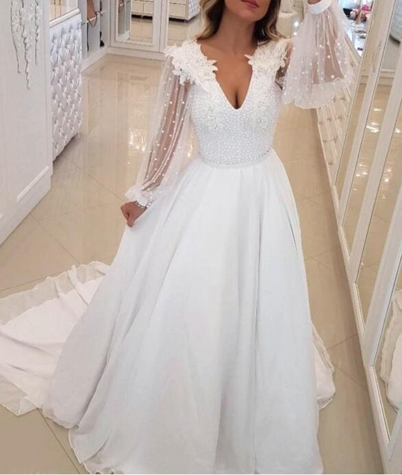 White Chiffon Long Sleeves Beaded Party Gown, White Evening Gown