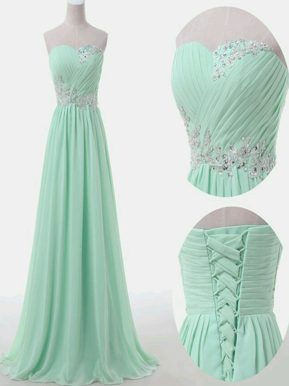 Beautiful Mint Green Floor Length Prom Dress, Long Chiffon Bridesmaid Dress