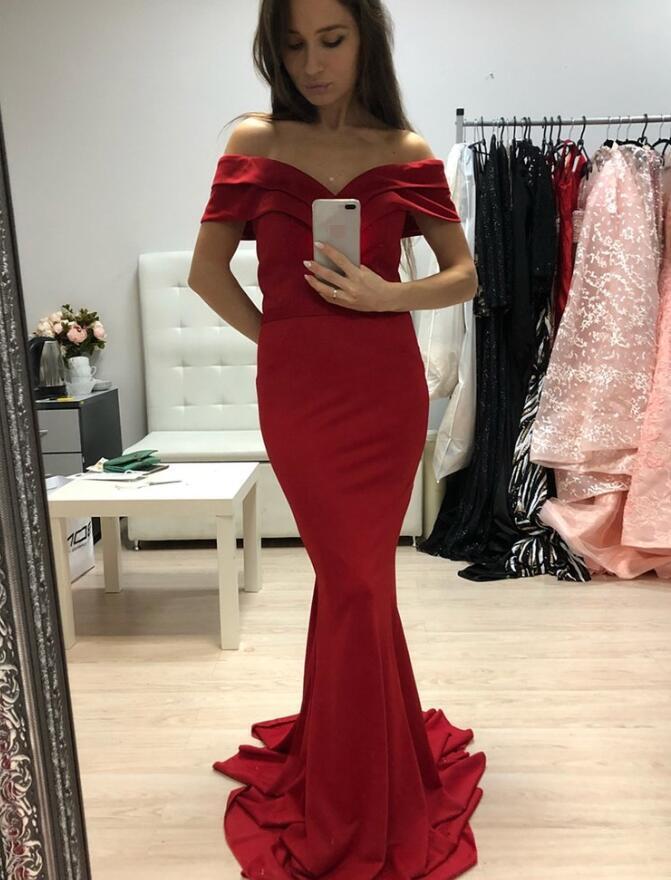 Charming Off Shoulder Mermaid Prom Dresses, Red Long Prom Dress 2020