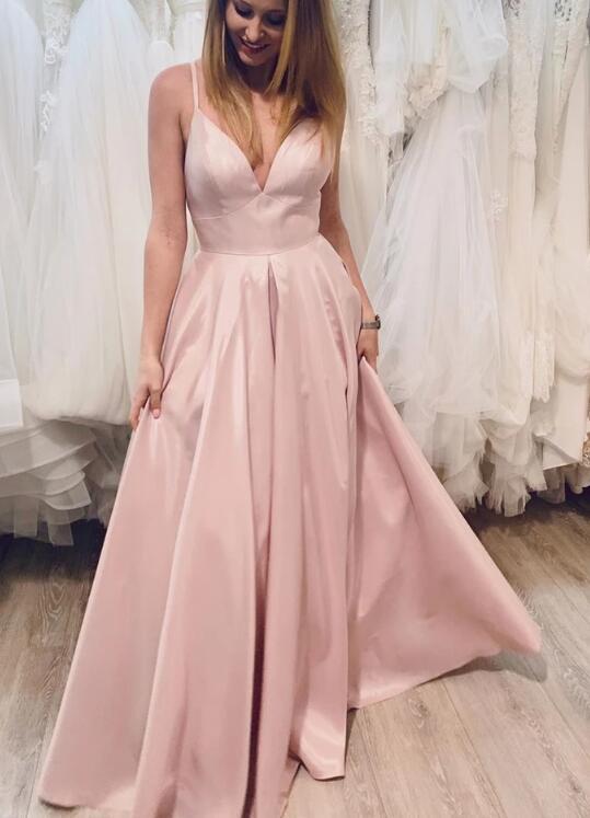 Light Pink Satin Straps Long Formal Dress, Pink Party Dress 2020