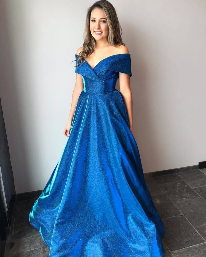 Blue Prom Dress,Satin Prom Gown,Off the Shoulder Evening Dress,A-Line Prom Gown