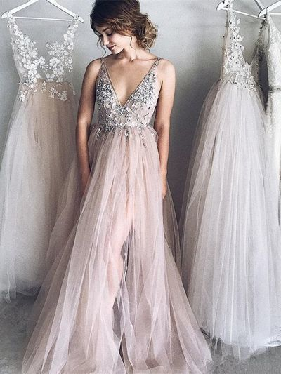 Charming Prom Dress,Tulle Prom Gown,Appliques Evening Dress,A-Line Prom Gown