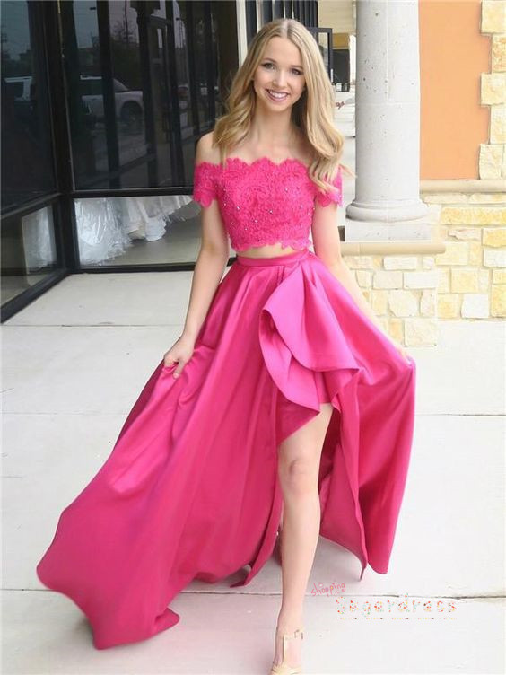 Asymmetrical Two Piece Prom Dress with Lace Crop 2646