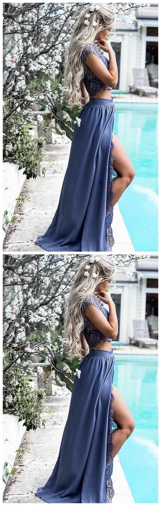 Two Piece Cap Sleeves Chiffon Prom Dress with Lace Split 2648