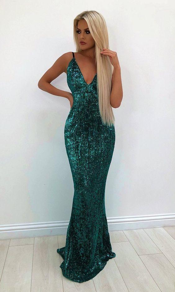 Green Light Emerald Sequin Sleeveless Spaghetti Strap Plunge V Neck Backless