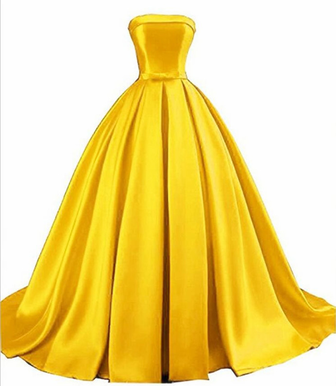 Gorgeous Gold Satin Long Evening Gown, Sweet 16 Gown