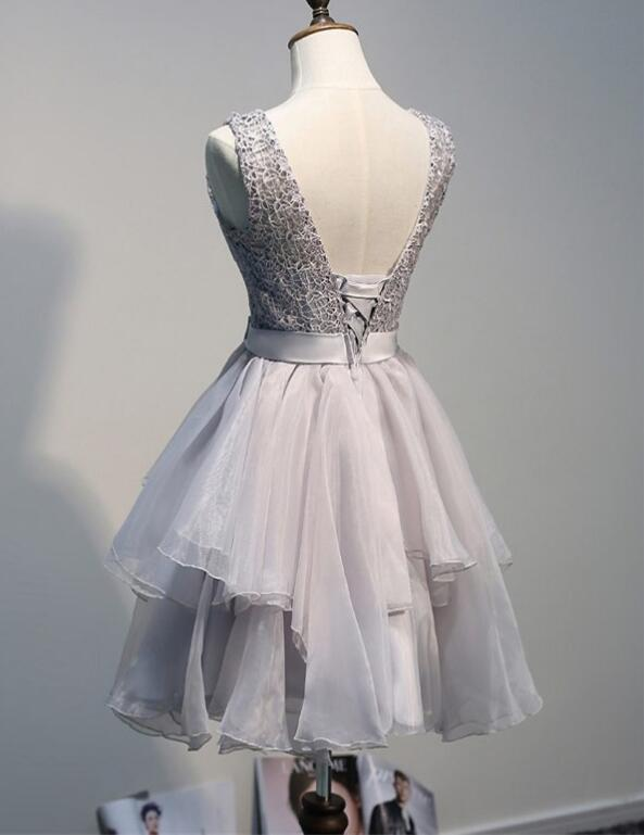 Short Grey Lace and Tulle Backless Party Dress, Grey Homecoming Dress