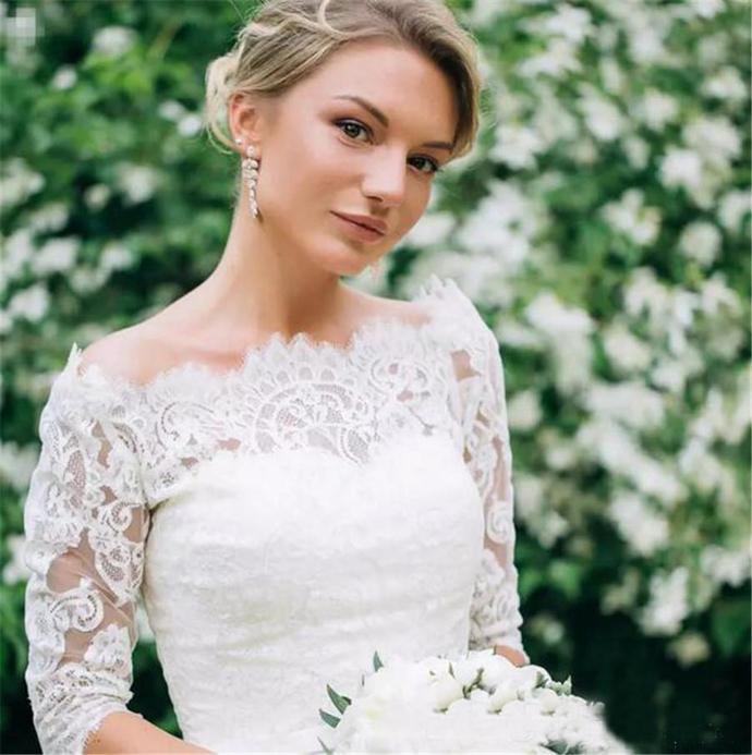 Half Sleeves Illusion Bateau Bow Sash Country Garden Bridal Gowns Custom Made