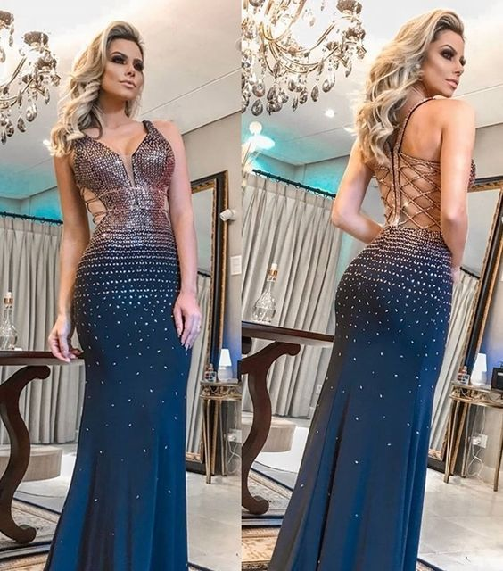 Gorgeous Straps Long Blue Prom Dress With Beading Mermaid Evening Dress 2657
