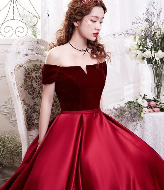 Elegant Velvet and Satin Princess Gown, Wine Red Off Shoulder Long Party Dress