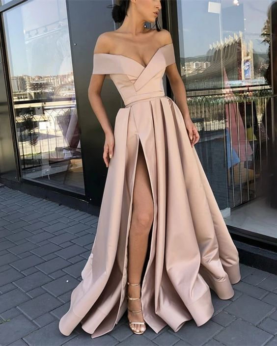 off the shoulder satin prom dresses long champagne elegant cheap senior formal