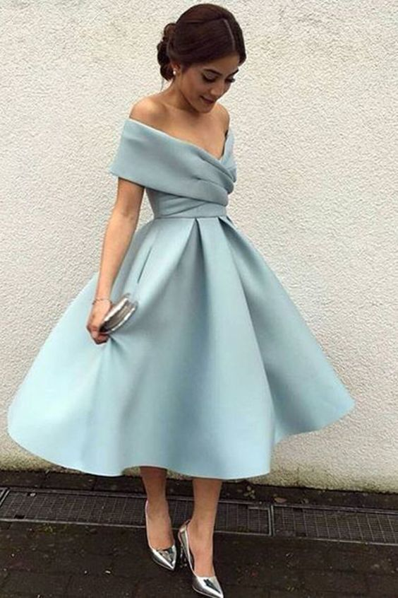 blue prom dresses 2020 tea length satin elegant off the shoulder cheap prom gown
