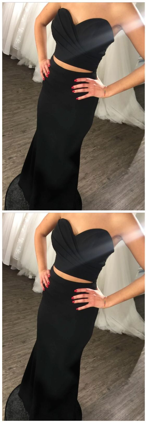 Charming Black Two Pieces Sweetheart Satin 2020 Prom Dresses 2665