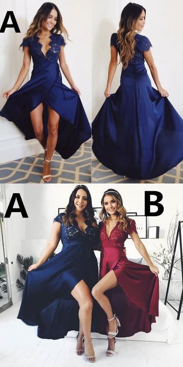 cap sleeves navy blue long prom dress 2666