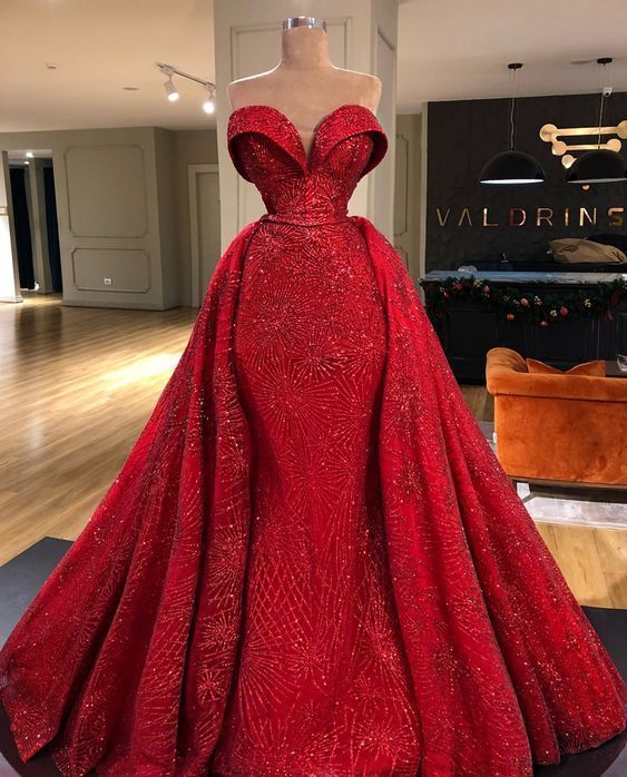 red sparkly prom dresses with detachable skirt sweetheart neck elegant luxury