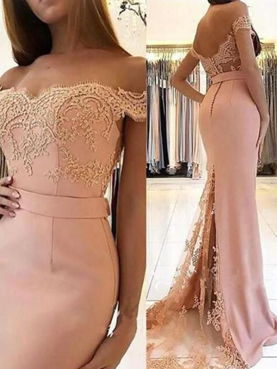 off the shoulder evening dresses long lace appliqué pink elegant beaded mermaid