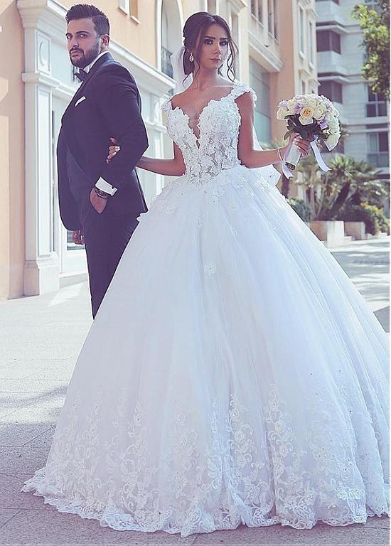 white lace wedding dresses boho floral appliqué cap sleeve princess elegant