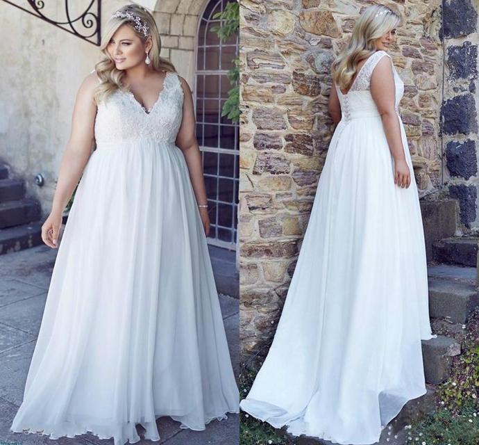 Romantic V-Neck Plus Size Lace Wedding Dresses Garden Cheap Chiffon Spring Train