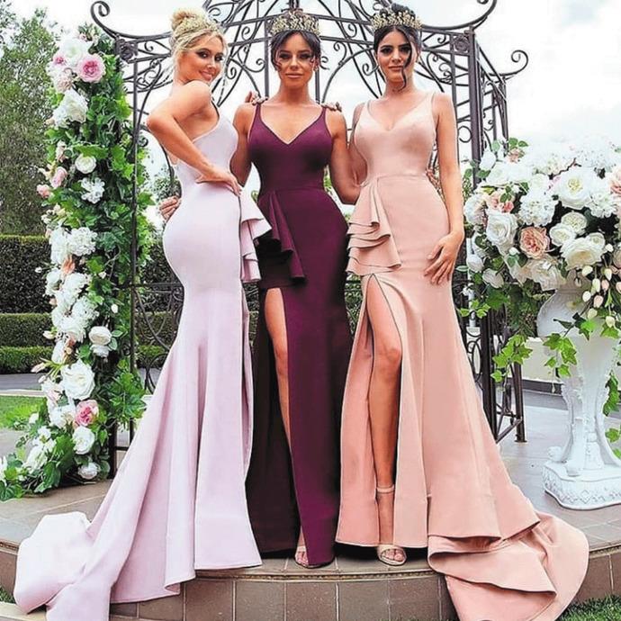 wedding party dresses 2020 mermaid elegant pink custom cheap bridesmaid dresses