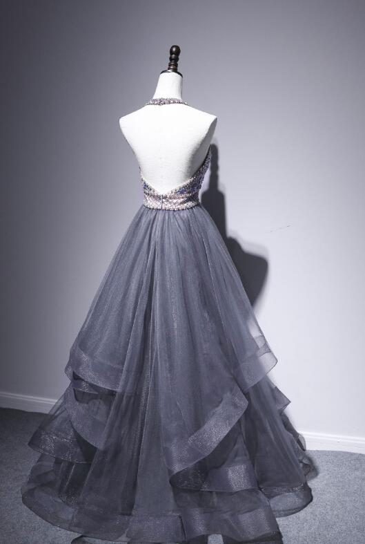 Grey Halter Beaded Tulle Long Party Dress, Grey Prom Dress