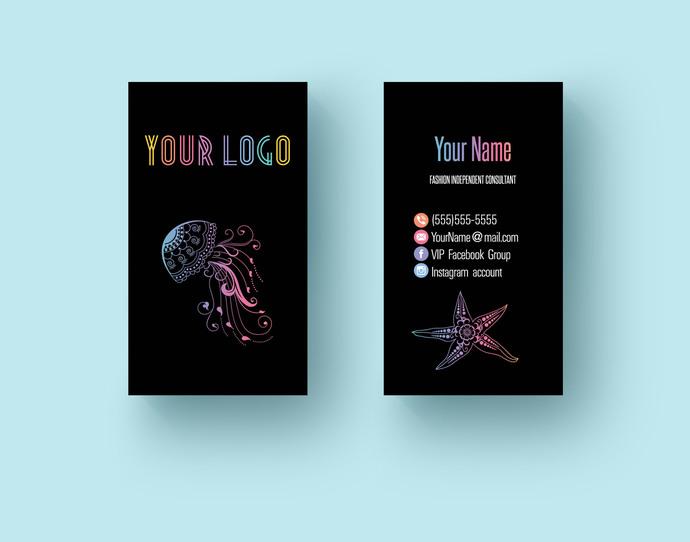 Fashion Consultant LLR Business Card- Vertical- Marine animals