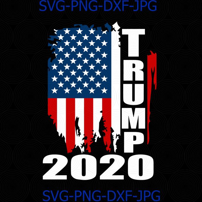Trump 2020 American Flag Distressed Vintage 2020 By Digital4u On
