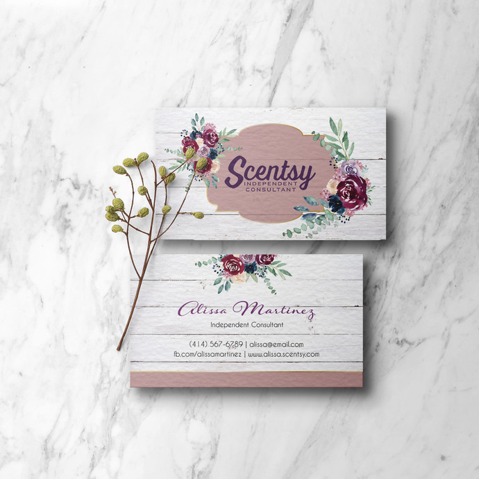 Printable Scentsy Business Cards, Rustic Scentsy Business Cards, Independent