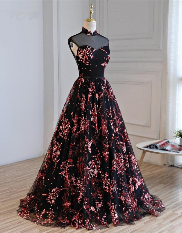 Beautiful Black Floral Long Party Gown, High Neckline Prom Dress 2020