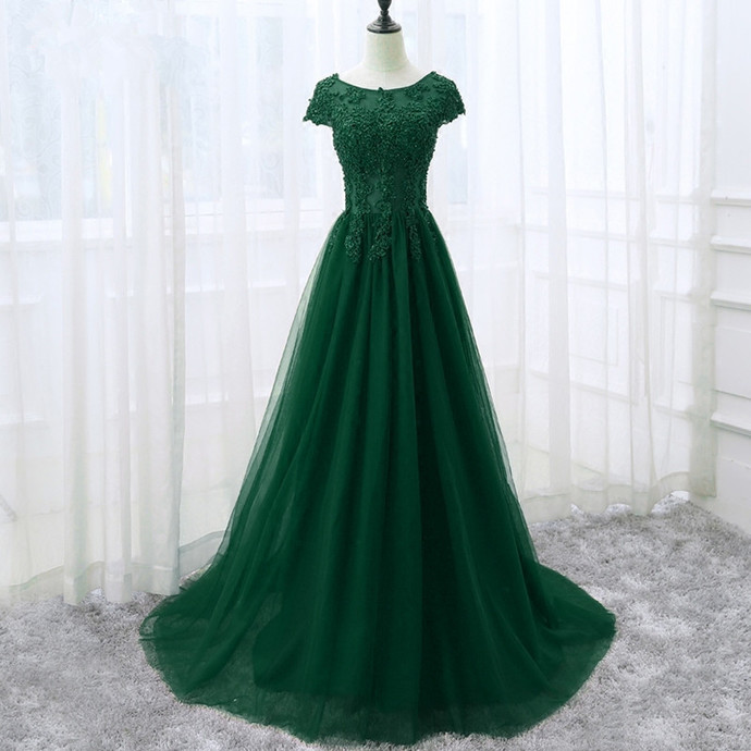 Dark Green Tulle Long Formal Dress with Cap Sleeves, Long Party Dress 2020