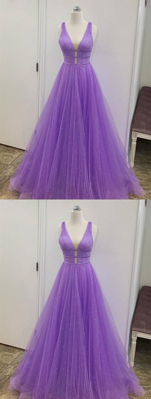 A Line V Neck Floor Length Purple Prom Dresses, V Neck Purple Long Formal