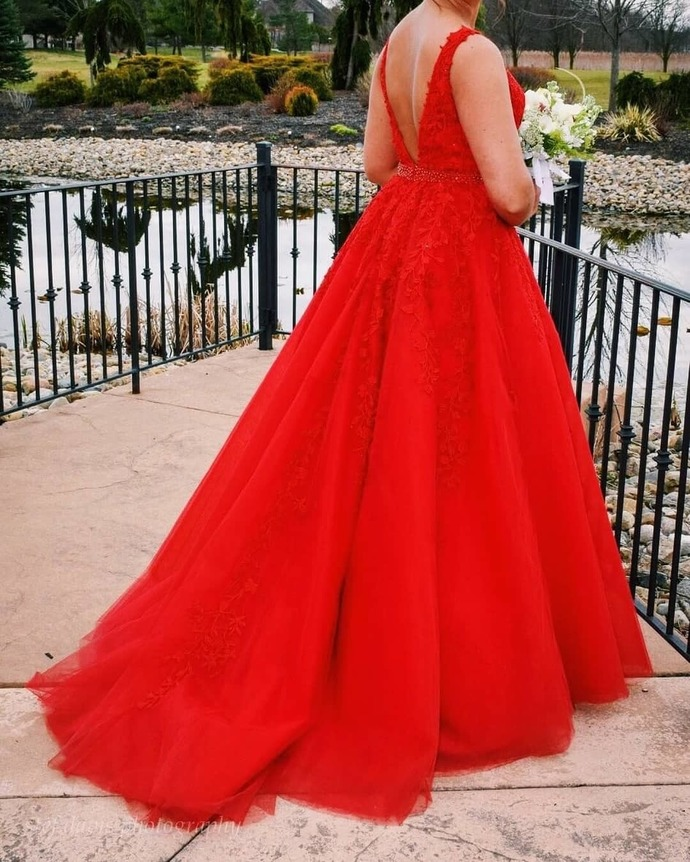 Plus Size Prom Dress,Ball Gown Red Prom Dress,Lace and Tulle Pageant Dress 2674