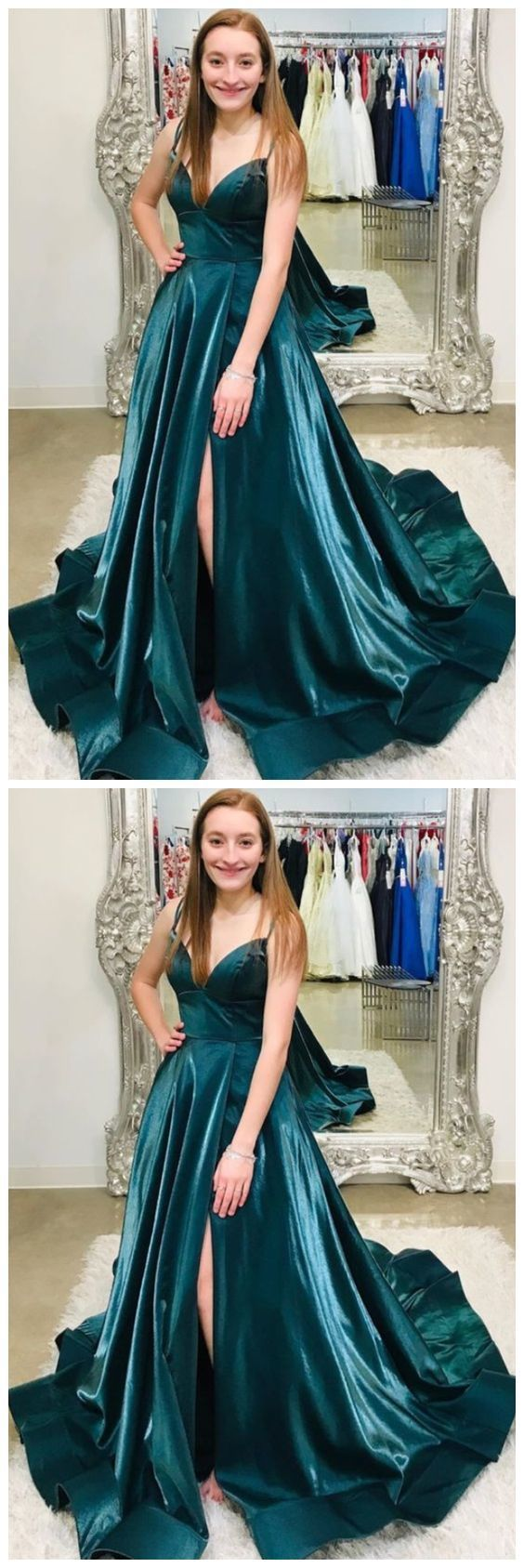 A-line long prom dress hunter green prom dresses 2678