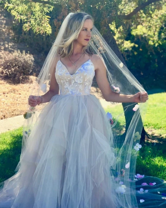 Princess Spaghetti Straps V Neck Pink Prom Dresses V Back Tulle Long Wedding