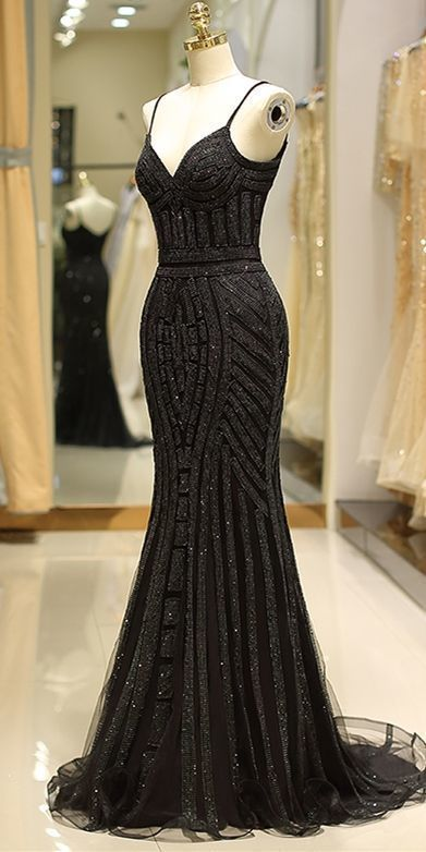 Mermaid Spaghetti Strap Black Beading Long Prom Dress 2686