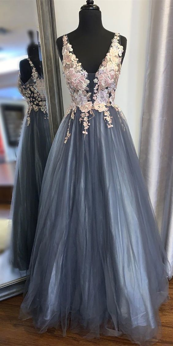 2020 long prom dress in smoke blue color with floral lace appliques, A-line prom