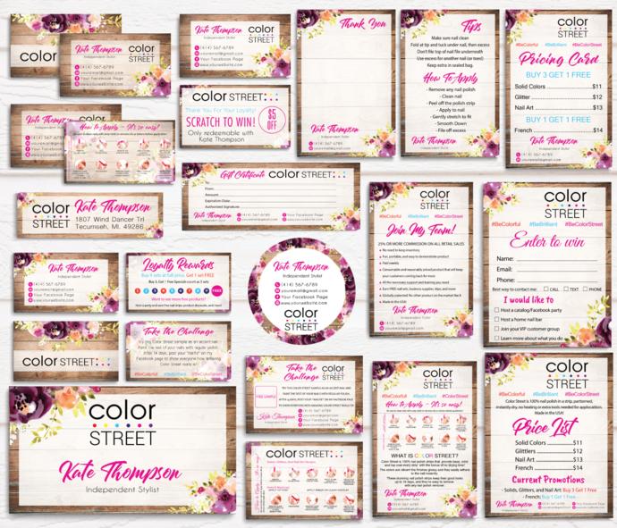 Rustic Color Street Bundle, Personalized Color Street Business Card CL23