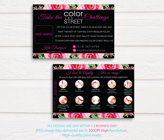 Personalized Color Street Twosie Card, Color Street Challenge Card CL25