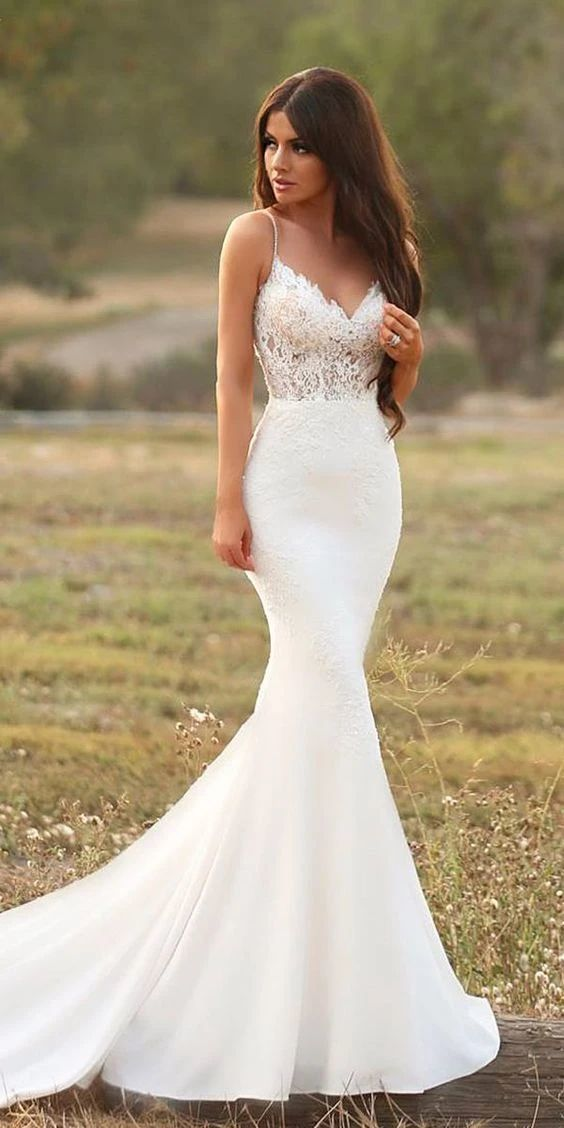white mermaid long wedding dress,evening dress with lace,prom dress