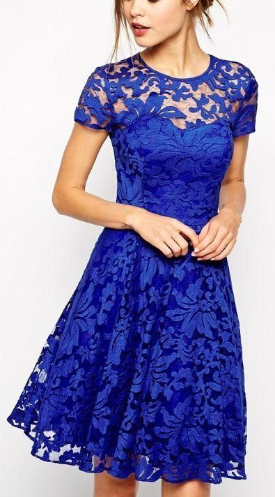 Tight Prom Dresses, Short Sleeve Jewel Royal Blue Lace Flowers A Line Pleated