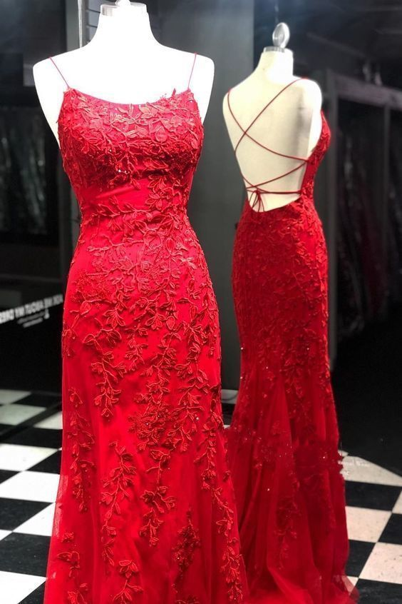 red lace long prom dress with spaghetti straps and lace up back 2690
