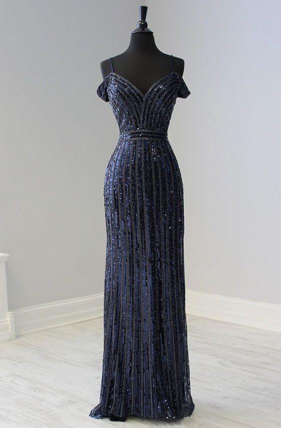 Beaded Plunging Off-Shoulder Mermaid Dress 2691